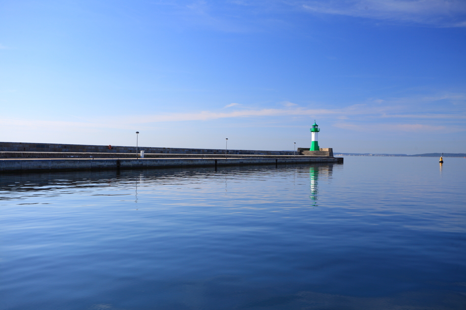 The lighthouse port in Sassnitz at evening Ruegen Island Germany